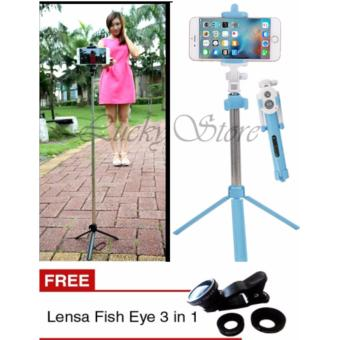 Lucky - Tongsis 3 in 1 With Bluetooth + Tripod Selfie Stick - Biru + Gratis