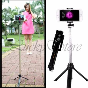 Lucky - Tongsis 3 in 1 With Bluetooth + Tripod Selfie Stick - Hitam 1 Pcs