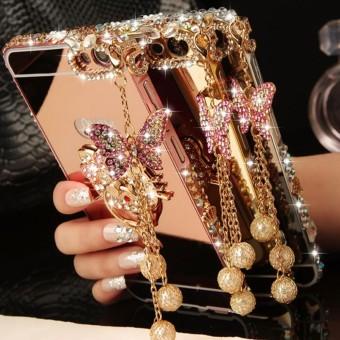 Shock Price Luxury Diamond Bingkai Logam dan Cermin PC Belakang Sampul Case untuk Samsung Galaxy A8