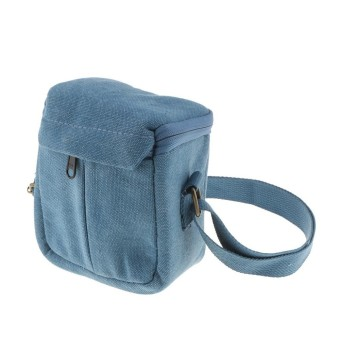 MagiDeal Compact Canvas Case Shoulder Bag Storage Pouch for Mirrorless Camera Blue - intl