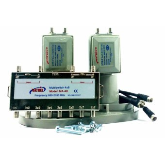 Matrix LNB C Band 2 in 8 (2 satelit 8 receiver) with multiswitch LC