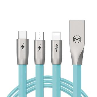 MCDODO 3 In 1 Kirsite Kabel Data untuk Lightning Micro USB Tipe-C Cepat Pengisian