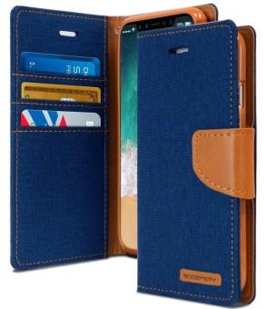 Mercury Canvas Diary Case for Samsung Galaxy J7 Plus - Blue
