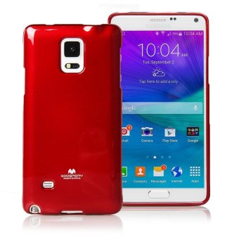 Mercury Jelly Silicone Soft Case for Samsung Galaxy Note 4 Casing Cover - Merah