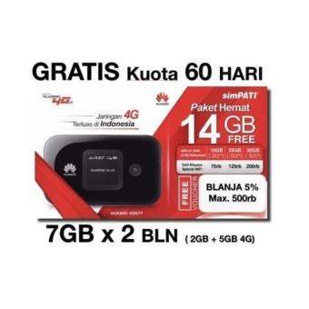 Mifi Huawei 4G LTE E5577 Unlocked Garansi Resmi Free TSEL 14Gb 60Hari - Hitam
