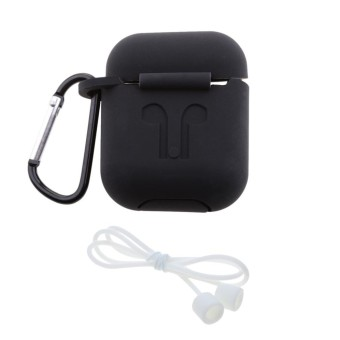 Miracle Shining For Apple AirPods Silicone Cover & Key Ring + Earloop Strap Anti Lost String