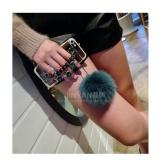 ... Cermin TPU + Mewah Diamond Rantai Rambut Bola + Lanyard Phone Case Cover untuk Samsung Galaxy ...