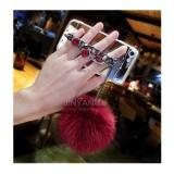 ... Cermin TPU + Mewah Diamond Rantai Rambut Bola + Lanyard Phone Case Cover untuk Samsung Galaxy