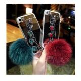 Cermin TPU + Mewah Diamond Rantai Rambut Bola + Lanyard Phone Case Cover untuk Samsung Galaxy ...