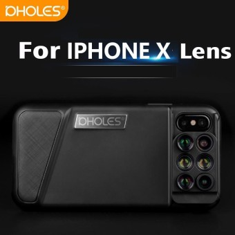 New For iPhone X Dual Camera Lens Wide Angle Lens + Telephoto Lens/ Fisheye Lens Camera Phone Lense with Protection Case - intl