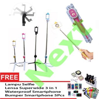 Next Tongsis 3 in 1 Selfie Stick Built In Bluetooth Tripod + Lensa SuperWide + Waterproof