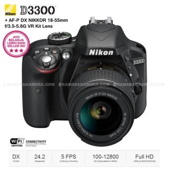 NIKON D3300 (BLACK) + AF-P DX NIKKOR 18-55mm f/3.5-5.6G VR Kit Lens 24.2 MP Full HD