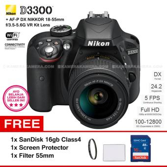 NIKON D3300 (BLACK) + AF-P DX NIKKOR 18-55mm f/3.5-5.6G VR Kit Lens 24.2 MP Full HD + Filter 55mm + SanDisk 16Gb + Screen Protector