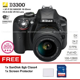 NIKON D3300 (BLACK) + AF-P DX NIKKOR 18-55mm f/3.5-5.6G VR Kit Lens 24.2 MP Full HD + SanDisk 8Gb + Screen Protector