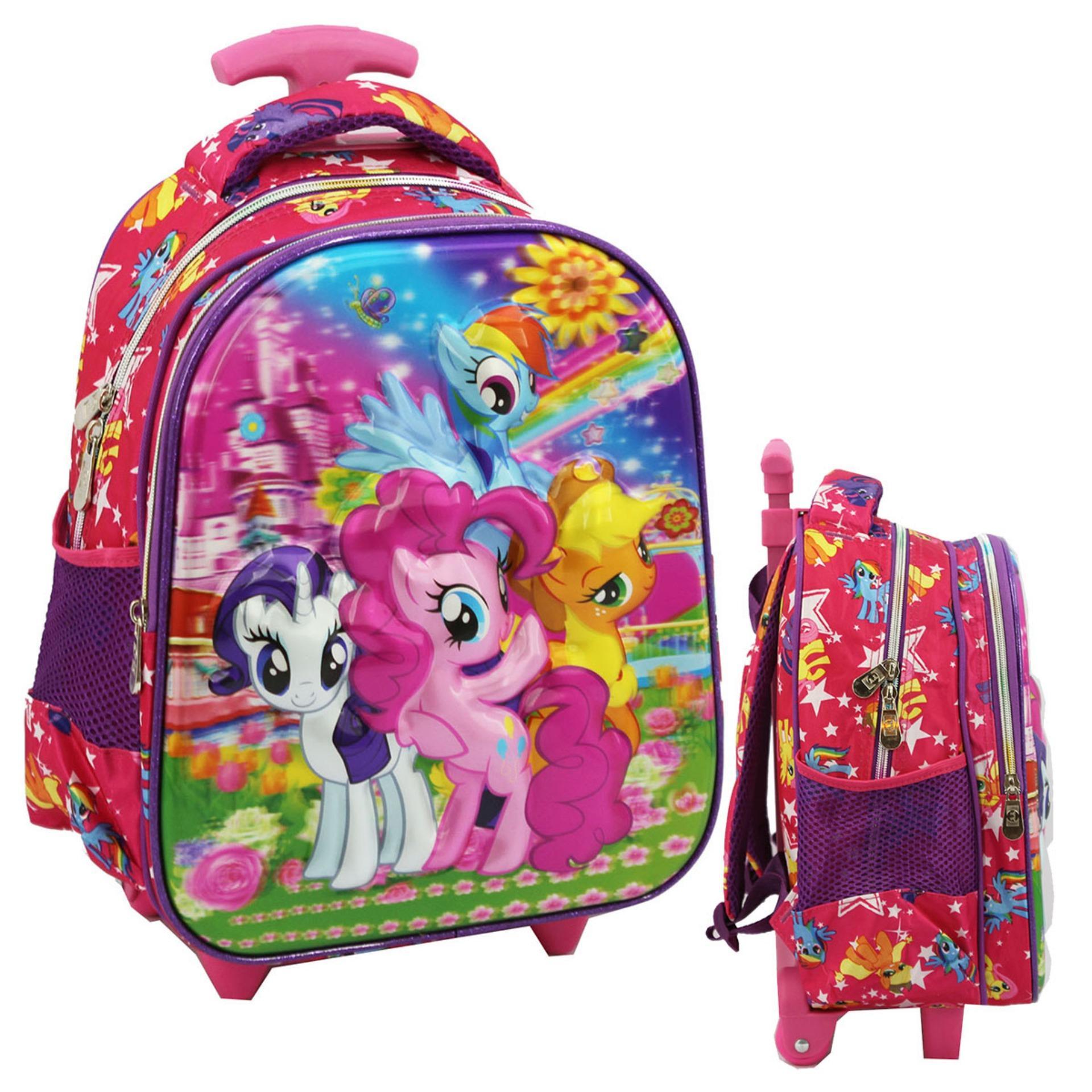 Onlan My Little Pony 5D Timbul Hologram Trolley Anak Sekolah TK - Ungu