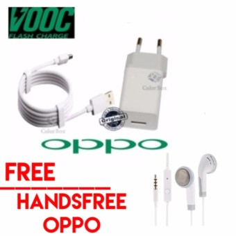 OPPO VOOC Original Travel Charger 5V - 2A Kabel Micro USB Data Cable - Putih Gratis handsfree oppo  0403NU