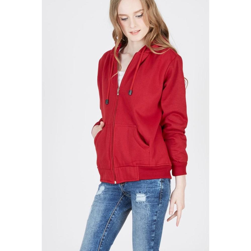 Cek Harga Baru Owl Jaket Polos Hoodie Zipper Merah Marun Terkini Hodie