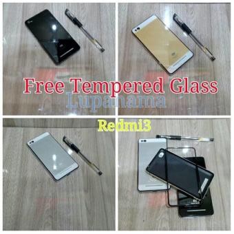 Paket Back Door Tempered Glass Case Redmi 3 Redmi3 Free Tempered Glass