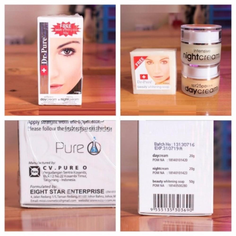 PAKET SET DR PURE Face Whitening Cream BPOM Ori ( Day + Night + Free SOAP