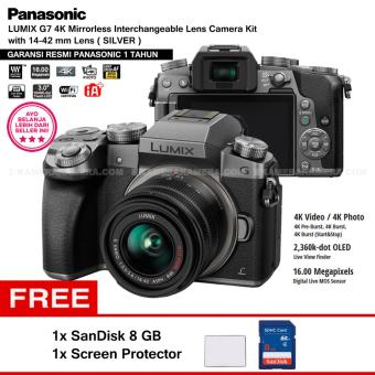 Panasonic DMC-G7K Silver - Kamera Mirrorless G7 WiFi 4K 16MP + Lumix G Vario 14-42mm/ F3.5-5.6 II ASPH (Garansi Resmi Panasonic 1th) + Screen Protector + SanDisk 8gb