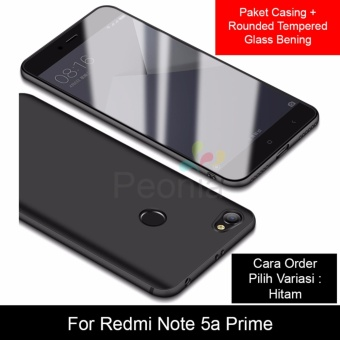 Peonia Anti Fingerprint Premium Quality Grade A Ultraslim Hybrid Case for Xiaomi Redmi Note 5A Prime 5.5 Inch + Rounded Tempered Glass