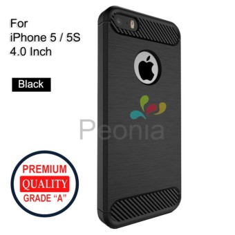 Peonia Carbon Shockproof Hybrid Premium Quality Grade A Case for Iphone 5 / 5s / 5 SE 4 Inch - Hitam