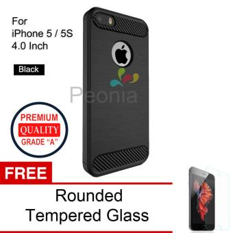 Peonia Carbon Shockproof Hybrid Premium Quality Grade A Case for Iphone 5 / 5s / 5 SE 4 Inch - Hitam + Rounded Tempered Glass