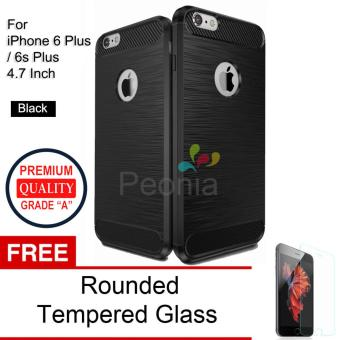 Peonia Carbon Shockproof Hybrid Premium Quality Grade A Case for Iphone 6 plus / 6s Plus 5.5 Inch - Hitam + Rounded Tempered Glass