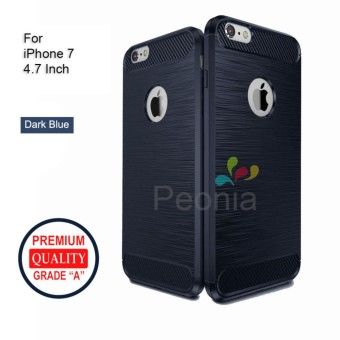 Peonia Carbon Shockproof Hybrid Premium Quality Grade A Case for Iphone 7 4.7 Inch - Dark Blue