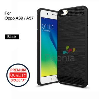 Peonia Carbon Shockproof Hybrid Premium Quality Grade A Case for Oppo A39 / A57- Hitam