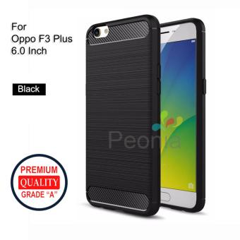 Peonia Carbon Shockproof Hybrid Premium Quality Grade A Case for Oppo F3 Plus (6 Inch) - Hitam