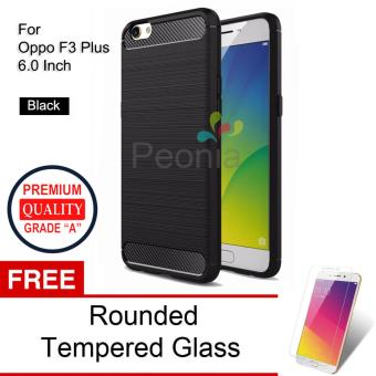 Peonia Carbon Shockproof Hybrid Premium Quality Grade A Case for Oppo F3 Plus (6 Inch) - Hitam + Rounded Tempered Glass