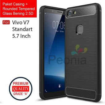 Peonia Carbon Shockproof Hybrid Premium Quality Grade A Case for VIVO V7 5.7 Inch + Rounded Tempered Glass Bening 2.5D