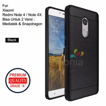 Peonia Carbon Shockproof Hybrid Premium Quality Grade A Case for Xiaomi Redmi Note 4 snapdragon / Redmi Note 4x Snapdragon dan Redmi Note 4 Mediatek / Redmi ...