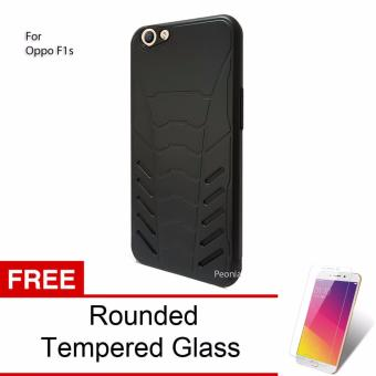Peonia Iron Man Armor HardCase for Oppo F1s / A59 / A59S 5.5 Inch - Hitam + Rounded Tempered Glass