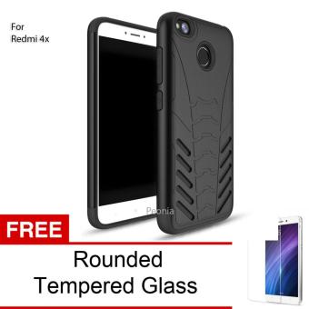 Peonia Iron Man Armor HardCase for Xiaomi Redmi 4X / Redmi 4X Prime 5.0 inch - Hitam + Rounded Tempered Glass