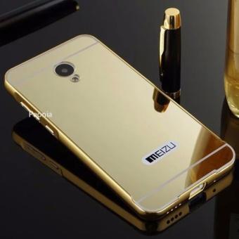 Peonia Meizu M2 Note Mirror Backcase with Metal Aluminium Bumper - Gold