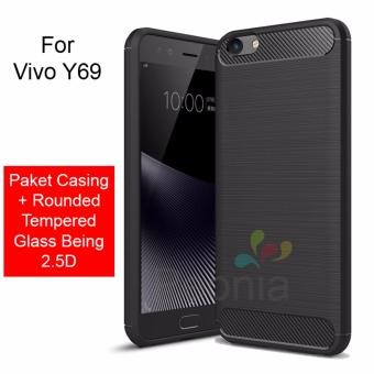 Peonia Carbon Shockproof Hybrid Premium Quality Grade A Case for VIVO Y69 5.5 Inch + Rounded Tempered Glass