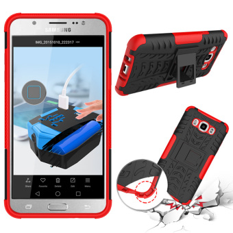 Phone Case For Samsung Galaxy J7 2016 J710 J710F Tough Impact Case Heavy Duty Armor Hybrid Anti-knock Silicon Hard Back Cover (Red) - intl ...