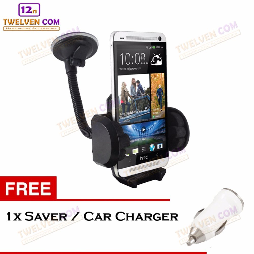 phone holder mobil / holder leher angsa fleksibel / untuk hp / gps- hitam + free 1 saver / car charger