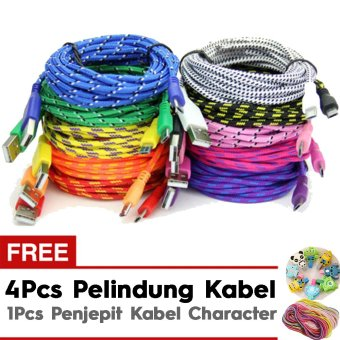 Pokeshop Kabel Android Transfer Data Cable Fabric Charger Putih 1m Gratis 4 Pelindung Kabel + 1 Penjepit Kabel Character