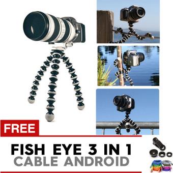 Pokeshop Universal Tripod Gorilla Go Pro Flexible Free Kabel Data Android Cable + Lensa Fish eye