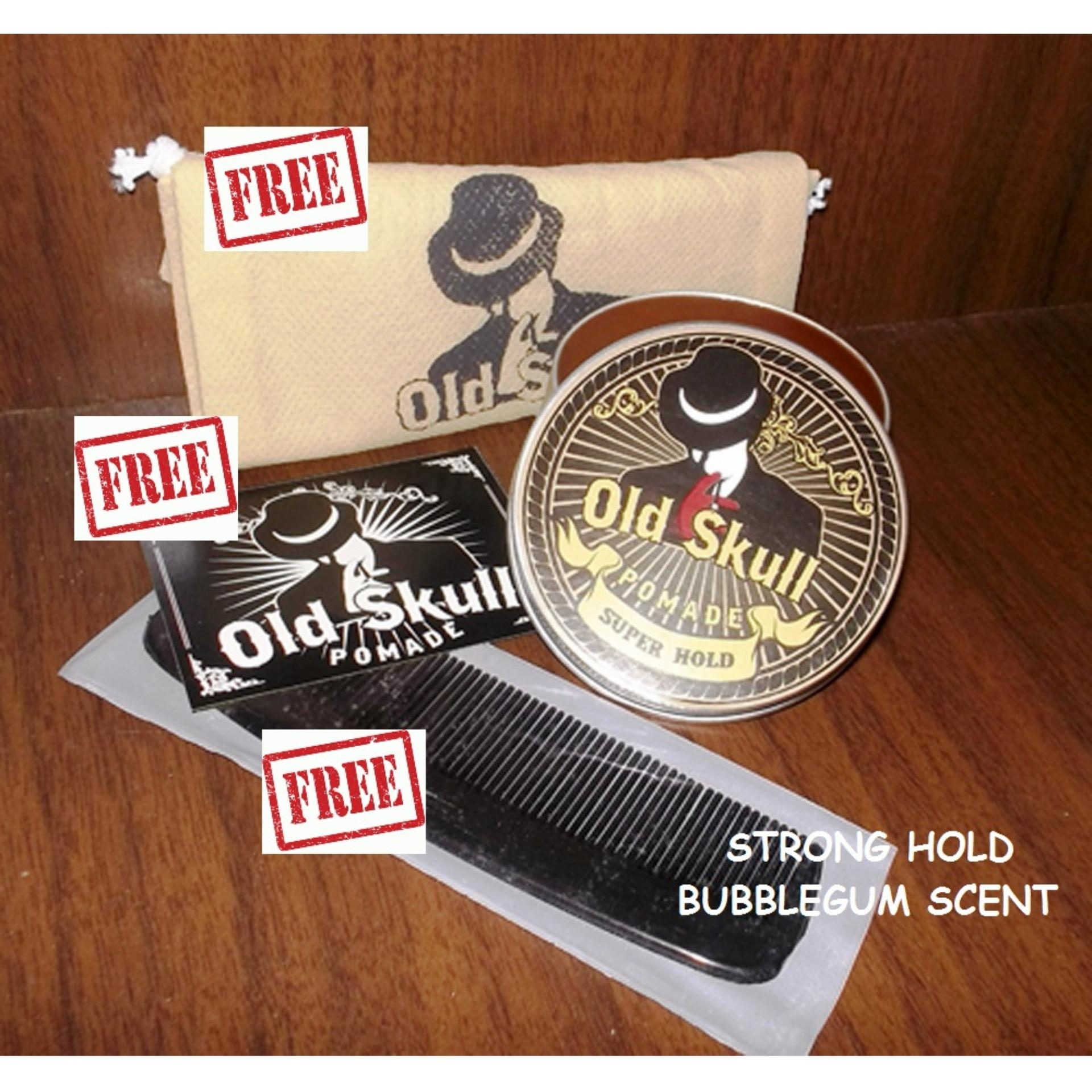 Pomade Oldskull Strong Hold Bubble Gum + Free Pouch + Free Bubble Wrap + Free Sisir