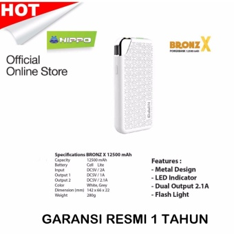 Power Bank Hippo Bronz X 12.500 Mah Garansi 1 Tahun - Powerbank 12500