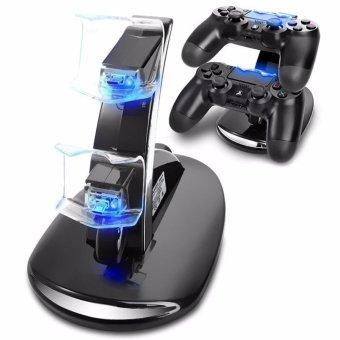 PS4 Charger, Acecharming Dual USB pengisian Charger Docking Stasiun untuk Playstation 4 PS4 / PS4