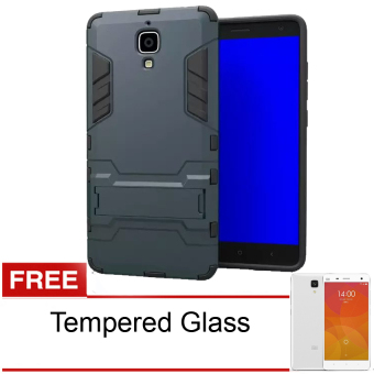 Radical Casing Armor Kickstand Series For Xiaomi Mi 4 - Hitam + Free Tempered Glass