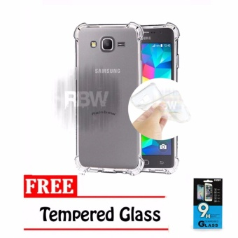 Rainbow Case Anti Crack Samsung Galaxy Grand Prime G530 Transparan + FREE Tempered Glass Soft Case