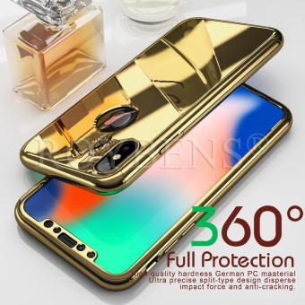 ROYBENS Hybrid 360? Shockproof Slim Mirror Case Tempered Glass Cover For Apple iPhone X 10