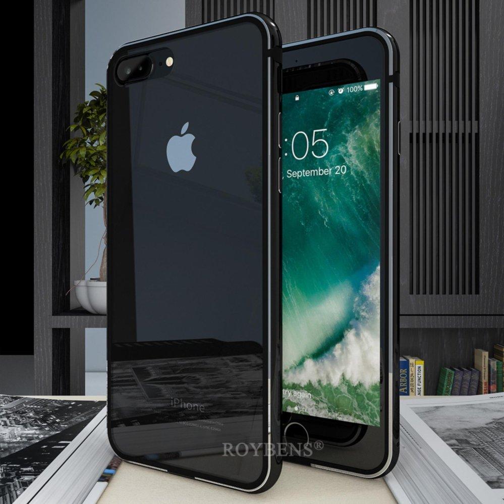 ROYBENS Ultra Tipis Aluminium Metal Bumper Clear Back Case Cover untuk IPhone 7 Plus Jet Black