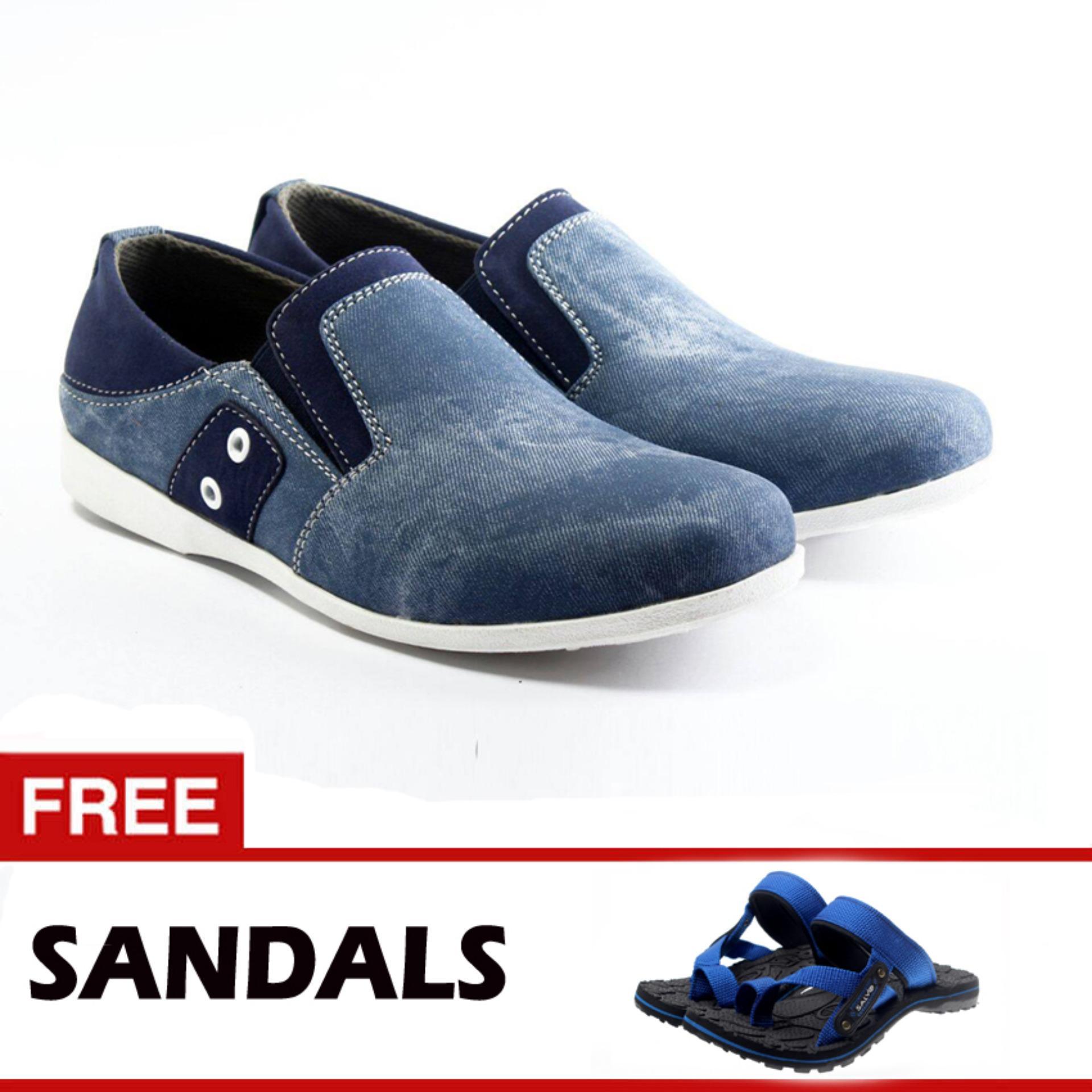 Salvo sepatu denim SC biru free sandal SG01 biru